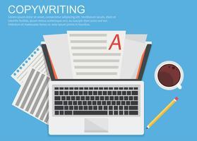 Banner-Texterstellung. Computer mit Papieren, Kaffee und Bleistift. Flache Vektorillustration