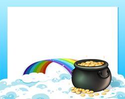En tom mall med en kruka med guld och en regnbåge