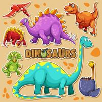 Different types of dinosaurs on poster