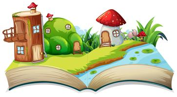 A fairyland opn open book vector