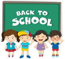 Back to school theme with boys and girls vector