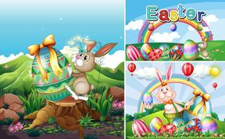 Coelho e ovos para o feriado da Páscoa