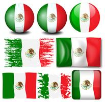 Mexico flag in many design
