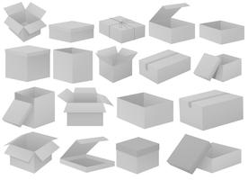 Scatole di cartone grigie vettore