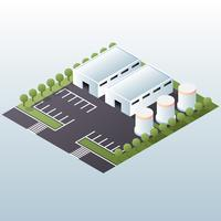 Warehouse Industrial Area Isometric Concept Illustration