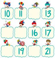Math worksheet template with clowns and numbers