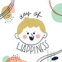 Caractère de garçon mignon souriant avec des formes abstraites autour de jour de Happinnes