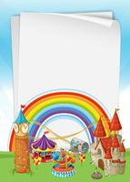 Beautiful Castle with Rainbow Template vector