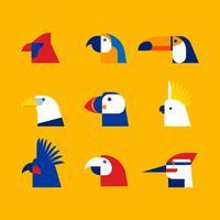 Vetor De Cabeça De Pássaro Cliparts Set