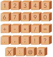 Wooden number block font symbol vector