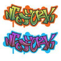 Flat Modern Graffiti New York Vector Illustration
