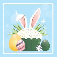 Diseño de tarjeta de felicitación de Pascua del vector