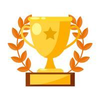 Banner de racha ganadora. Copa, medalla con una estrella. Vector ilustración plana