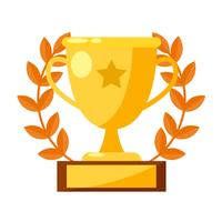 Gewinner Banner Banner. Pokal, Medaille mit einem Stern. Flache Vektorillustration