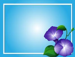 Plantilla de fondo azul con flores de la gloria de la mañana