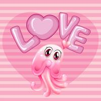 Romantic background with pink jellyfish and word love