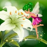 Cute fairy flying around white lily