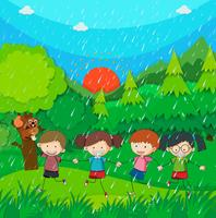 Raining scene with kids in the park