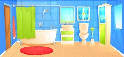 Cuarto interior del diseño del cuarto de baño con la plantilla de cerámica del fondo de los muebles. Ilustración vectorial de dibujos animados