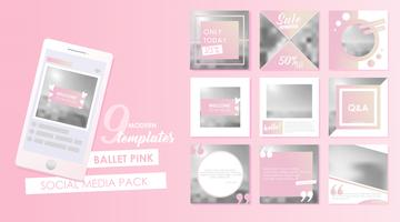 Social media banner template for your blog or business. Cute pastel pink designs for photo. Vector flat set