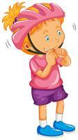 Little girl wearing helmet