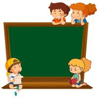 Children on blank chalkboard