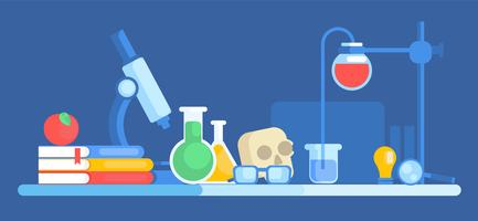Science banner. Chemical laboratory, skull, books, apple, glasses, table. Vector flat illustration