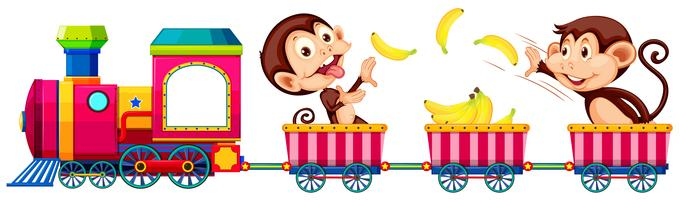 Playful monkey on the train vector