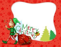 Diseño de tema navideño con elfo y bolso.