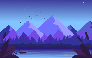 Vektor-purpurrote Landschaftsabbildung