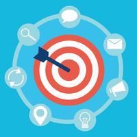 Mercadotecnia interna. Destino con flechas y herramientas de iconos. Vector ilustración plana