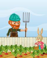 Jordbrukare arg på kanin skörda rädisa