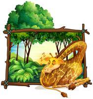 Marco de madera con jirafa en la selva.