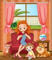 Mutter im Wohnzimmer stricken