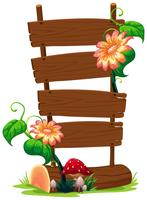 Wooden banner with flower vector
