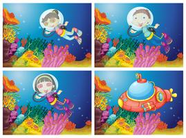 Crianças mergulho sob o mar