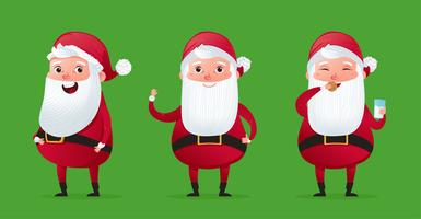 Happy a christmas character cute santa claus set. Traditional New Year's holiday costume and hat. Vector cartoon illustration