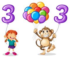 Girl and monkey with balloon number three
