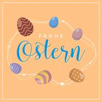 Flat Frohe Ostern Lettring Typography Vector Illustration