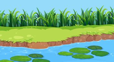 Flat nature pond landscape