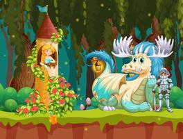 Bella princesa en la escena del castillo del bosque