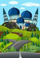 Um, estrada, para, bonito, mesquita