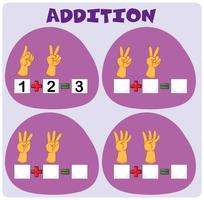 Addition worksheet with hand gestures