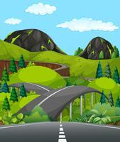 Uma estrada de montanha natural