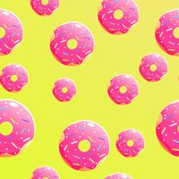 Seamless background pattern with delicious donuts. Vector cartoon illustration