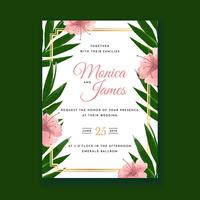 Tropical Flower Watercolor Wedding Invitation Card