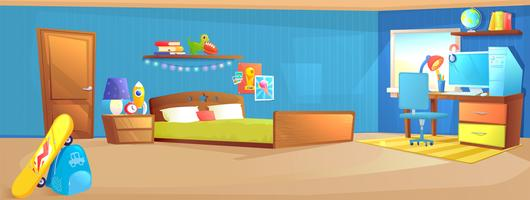 Teenager boy room interior design banner. With bed, workplace with desk and pc computer, shelves, and toys and skateboard. Vector cartoon illustration