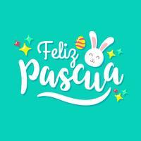 Feliz Pascua Typografi Med Söt Kanin