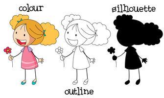 Set of girl holding flower