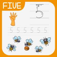 Number five tracing alphabet worksheets